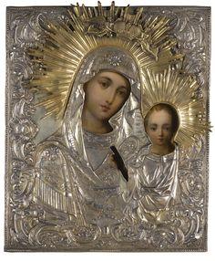 A silver-gilt icon of the Kazanskaya Mother of God, St-Petersburg,  1818-1864
