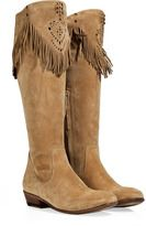 Sand suede boots with fringe by Ermanno Scervino. Fringe Cowboy Boots, Suede Cowboy Boots, Western Boots, Suede Boots, Western Style, Cheap Boots, Cool Boots, Boot City, Square Toe Boots