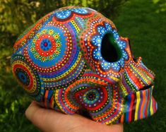 Sugar Skull Mexican Skull Day of the Dead Calavera Sugar image 0 Sugar Skull Makeup, Sugar Skull Art, Sugar Skulls, Sugar Skull Painting, Mexican Skulls, Mexican Art, Halloween Skull, Halloween Flowers, Vintage Halloween