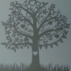 Deluxe Family Tree Papercut A family tree papercut that features the name of each family member amidst the delicate branches. Perfect wall art to add an elegant touch to any home by cherry Paper Cutting, Cut Paper, Family Tree Art, Family Wall, Paper Art, Paper Crafts, Wood Crafts, Personalised Family Tree, Tree Wall Art