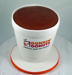 Dunkin Donuts Coffee Cup Cake #BirthdayCakes, #CoffeeCupCake Dunkin Donuts Cake, Coffee Cupcakes, Mister Donuts, 3d Cakes, Cupcake Ideas, Birthday Cakes, Special Occasion, Dj, Bakery