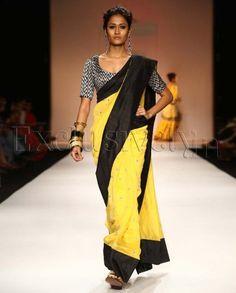 Suraiya Sunset Yellow Sari With Black Velvet Choli, Payal Singhal
