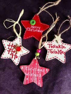 Set Of 4 Shabby Chic Christmas Tree Decorations – All Out Of Ideas