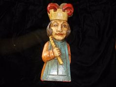 Old Wood Sculpture Carving Of Jack King large figure statue 9 inch tall  #folkart #unknown