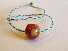 Super Minimal Necklace :D Orange Gold Minimal Necklace/Bracelet White by LuluThePickleQueen, $14.00