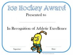 Hockey Certificates Templates  Hockey Certificate And Hockey Quotes