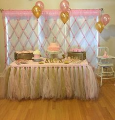 new Ideas birthday table skirt baby shower Baby Girl Shower Themes, Baby Shower Table, Girl Baby Shower Decorations, Girl Themes, Baby Shower Princess, Girl Decor, Princess Party, Birthday Party Snacks, Birthday Table