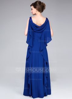 A-Line/Princess Cowl Neck Floor-Length Beading Sequins Cascading Ruffles Zipper Up at Side Regular Straps Sleeveless No 2014 Royal Blue Fall General Plus Chiffon Mother of the Bride Dress