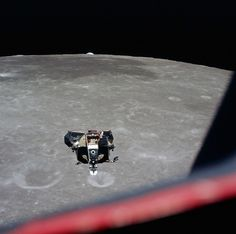 Michael Collins photographs the returning Lunar Module with Neil Armstrong and Edwin 'Buzz' Aldrin inside. Soon after, the journey back to Earth began.