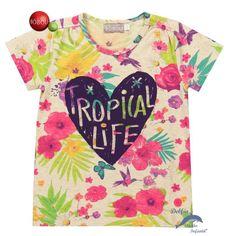 Camiseta de niña BOBOLI manga corta estampada corazon