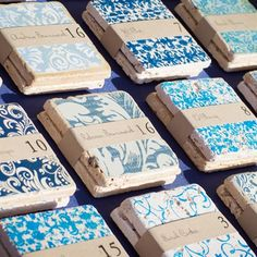 Blue Patterned Escort Cards | Hayden Phoenix Photographer | TheKnot.com