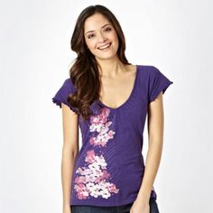 Dark purple embroidered floral print t-shirt at debenhams.com