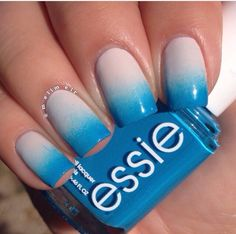 Blue and beige gradient #nails #nailart