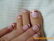 French Nails With Red Design