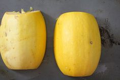 An easy tutorial on how to cut, de-seed, and roast spaghetti squash. Spaghetti squash makes for a delicious and healthy gluten-free meal! Healthy Gluten Free Recipes, Low Carb Recipes, Cooking Recipes, Spaghetti Squash Pasta, How To Make Spaghetti, 2 Ingredients, Roast, Avocado, Food And Drink