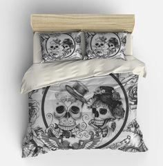 Skull Bedding , Duvet Comforter Cover Set , Black White , Day Of The Dead Decor Sugar Skulls, Gothic Twin Queen King