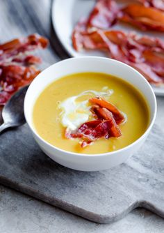 This quick and easy butternut squash and leek soup with crispy prosciutto and creme fraiche can be thrown together in less than an hour!