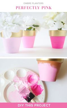 Love these pretty pink DIY planters Painted Plant Pots, Painted Flower Pots, Clay Pot Crafts, Diy And Crafts, Arts And Crafts, Craft Projects, Projects To Try, Diy Planters, Summer Crafts