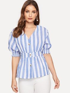 Check out this Button Striped Blouse on Shein and explore more to meet your fashion needs! Blouse Styles, Blouse Designs, Lingerie Sleepwear, Blue Fashion, Printed Blouse, Types Of Sleeves, Sleeve Styles, Blouses For Women, Casual Outfits