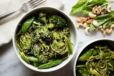 The Ultimate Green Veggie Bowl (with zucchini noodles, broccoli, snap peas, and cheese-free pesto)
