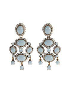 Gojee - Opaque Cabochon Drop Earrings by Oscar de la Renta