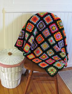 Vintage Crochet Granny Square Blanket Afghan Throw 70X50