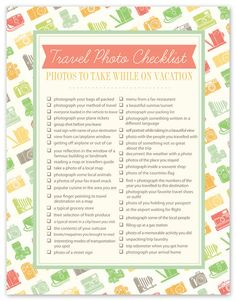 Travel Photo Checklist!  I plan on using this on all of my future vacations.