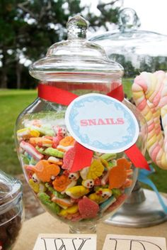 first birthday party in park with snips snails puppy dog tails theme snails