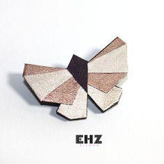 Ehz bijoux broche bijou origami papillon géométrique cuivre et doré