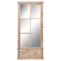 Full-length wood wall mirror with window frame design.   Product: Wall mirrorConstruction Material: Wood and mirr...