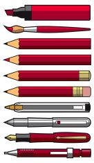 Writing Implements Set - Red vector art illustration