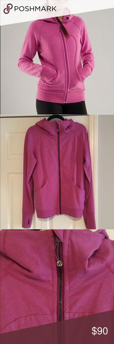 💓Lululemon Scuba Hoodie in Dark Pink!💓 💓Lululemon Scuba Hoodie in Dark Pink!💓 Great sweatshirt for the fall And winter for a warm up! Size- 12 (I got so it has room and is not tight, but still has a fit to it Bc it's stretchy) perfect for if you want a little looser like a tapered sweatshirt. Only worn once to run an errand. Like new! Cut out holes for thumbs, lululemon embroidered on the back of the hood, as seen in pic. Beautiful zip up! 💓 lululemon athletica Tops Sweatshirts…