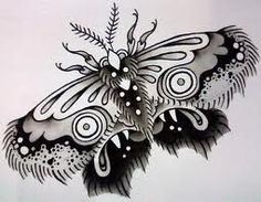 simple traditional black and white moth tattoo - Google Search