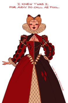 Claire Hummel has also drawn Harley in more regal, Elizabethan garb, appropriately quoting The Twelfth Night [ shoomlah on deviantART? ]