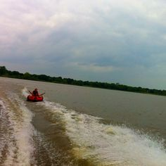 Tubing behind boat!