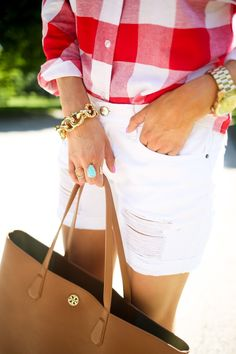 JUNE 1, 2015 July 4th Outfit Inspo... - TOP: Goodnight Macaroon c/o   SHORTS: SP ($44 – mine are a medium) (similar style here)   BAG: Tory Burch   WEDGES: Jessica Simpson (just ordered these!)   EARRINGS: Kendra Scott c/o   NECKLACE: BaubleBar via Nordstrom   RINGS: Kendra Scott, BaubleBar c/o   BRACELET: BaubleBar via Nordstrom   LIPS: 'So Chaud' (fave summery red!)   SUNGLASSES: Ray-Ban