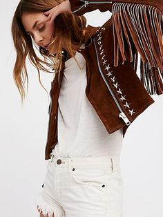 Understated Leather Paris Texas Crop Fringe Jacket in Saddle at Free People