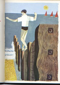 'Balancing Boy' by Robert Tavener (lithograph) Creative Illustration, Graphic Design Illustration, Illustration Art, Design Illustrations, 2d Art, Typography Prints, Printmaking, Screen Printing, Art Prints