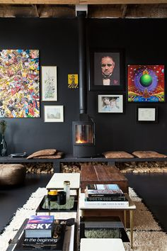 """gravity-gravity: """" Home in former school in The Netherlands. Photography by Jansje Klazinga for VT Wonen """" Dark Interiors, Colorful Interiors, Home Living Room, Living Spaces, Interior Architecture, Interior And Exterior, Turbulence Deco, Gravity Home, Fireplace Design"""