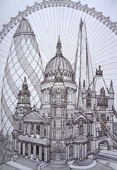 Simply British by DareToWatch on DeviantArt - London Cucumber St. Paul's Big Ben Tower of London The Shard - Building Drawing, Building Art, London Drawing, London Sketch, Architecture Drawing Art, London Architecture, Poses References, Travel Drawing, Perspective Drawing