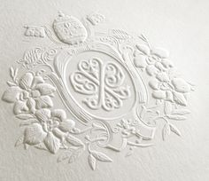 Blind Emboss, Uncoated Paper Stock // Coat of Arms // Oh So Beautiful Paper: Chris + Yelena's Gilded Parisian Wedding Invitations
