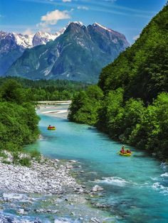 "This is the Soca River, aptly named the ""Emerald Beauty! 😍 Its a 136 km river that flows through western Slovenia and is famous for its emerald green water! 🙌🏽 Soca is actually one. Places Around The World, The Places Youll Go, Great Places, Places To See, Beautiful Places, Amazing Places, Dream Vacations, Vacation Spots, Rafting"