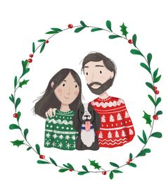 A delicate family illustration for the holidays. Made by aidacaro - - Family Drawing Illustration, Family Drawing, Christmas Illustration, Family Illustration, Christmas Portraits, Wreath Drawing, Custom Family Portrait, Family Portrait Drawing, Christmas Card Illustration