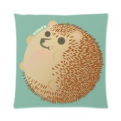 GENERIC Cute Hedgehog 16 x 16 Cotton & Polyster Throw Pillow Case Custom Zippered Decorative Cushion Cover (Two Sides Print)
