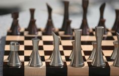 Modern metal chess pieces