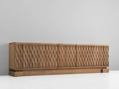Brutalist Five-Door Sideboard in Blond Oak   From a unique collection of antique and modern credenzas at https://www.1stdibs.com/furniture/storage-case-pieces/credenzas/