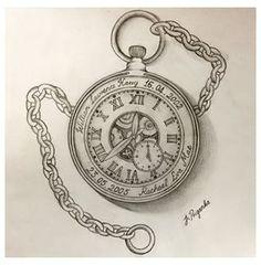 Pocket Watch Drawing, Pocket Watch Tattoo Design, Pocket Watch Tattoos, Clock Tattoo Design, Tattoo Designs, Time Piece Tattoo, Pieces Tattoo, Time Tattoos, Body Art Tattoos