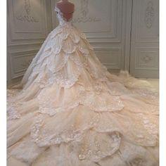 Luxury flower cathedral train wedding dress by RoyalWeddingStore, $1,520.00