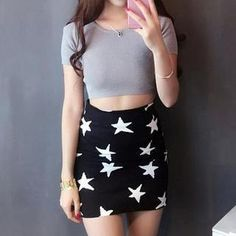 Set: Cropped Top + Star-Print Skirt  from #YesStyle <3 Jolly Club YesStyle.com