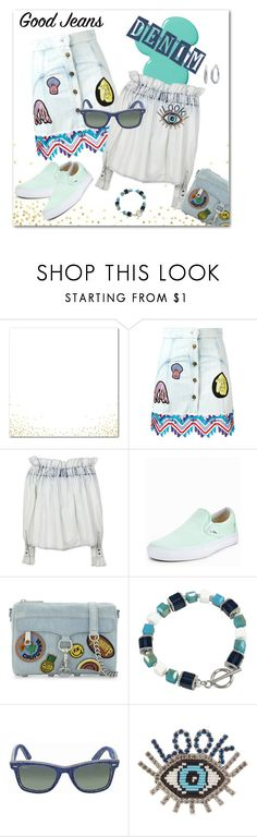 """All Denim, Head to Toe"" by flippintickledinc ❤ liked on Polyvore featuring Peter Pilotto, MSGM, Vans, Rebecca Minkoff, Rimini, Ray-Ban, Shourouk, Nine West and alldenim"